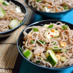 Crunchy Cucumber Pasta with and Spicy Peanut Sauce