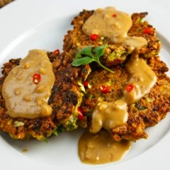 Savory Garlic Ginger Chickpea Fritters with Thai Peanut Sauce