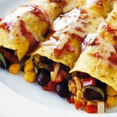 Black Bean, Corn, and Yam Enchilada Bake