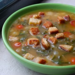 Cannellini Bean Soup with Pan Fried Croutons